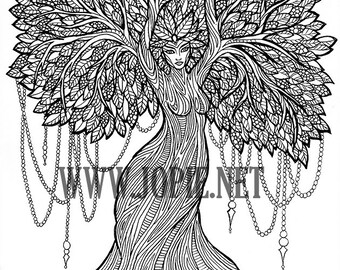 Tree Goddess adult coloring page colouring color colour zen pagan mindfulness