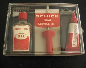 Vintage Schick rasoir Home Service Kit, complet, à l'huile, lubrifiant, pinceaux, petit tournevis, Instructions