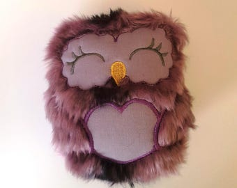 Girl Owl Stuffie, Faux Fur Owl Stuffie, Owl Stuffie, Purple Owl, Embroidered Owl stuffie, Purple girl owl, owl girl stuffie, embroidered owl