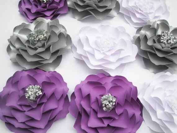 9 Blumen aus Papier weiß lila und Silber Blumen Hochzeit