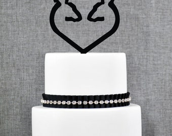Traditional Buck and Doe Heart Wedding Cake Topper, Classic Deer Cake Wedding Cake Topper, Hunter Theme Wedding Cake Topper- (T255)