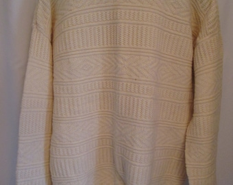vintage, PICCADILLY off white pure wool cable knit long sleeve crew neck mens sweater size XXL TALL