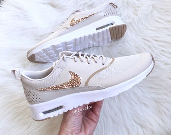 Nike Air Max Thea - Desert Sand/Sand/White Blinged with Rose Gold SWAROVSKI® Xirius Rose-Cut Crystals.