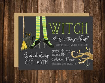 Witch Way To The Party Halloween Invitation; Wicked Witch Feet; Printable or set of 10