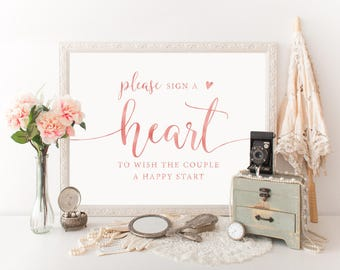 Rose Gold Heart Guestbook Sign, Please Sign a Heart Sign, Sign a Heart Printable, Rose Gold Wedding Sign, Guestbook Sign, Heart Guestbook