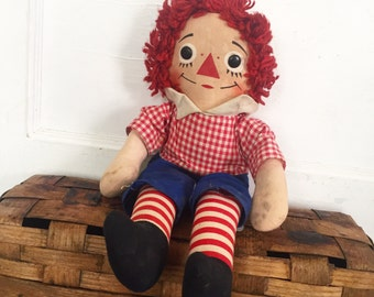 Vintage Raggedy Andy Doll, Vintage Knickerbocker, Knickerbocker Raggedy Andy, Vintage Doll, Raggedy Ann and Andy