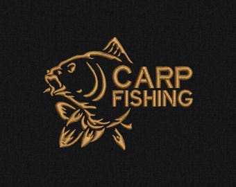 Carp Fishing Machine embroidery design - 2 sizes for instant download