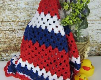 Crochet Baby Blanket, red white blue, crochet baby girl blanket, granny square blanket, memorial day, 4th July, American Colors