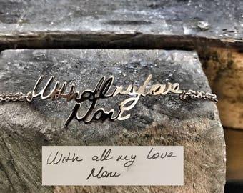 Handwriting Bracelet • Custom Actual Handwriting Jewelry • Signature Bracelet • Memorial Personalized Keepsake Gift • Mother's Gift • CC1