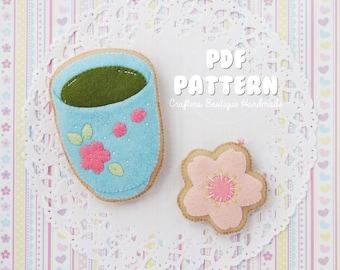 Matcha Tea Cup Cookie And Sakura Flower Cookie Charm PDF Pattern. Digital Soft Toy Pattern.