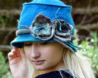 Felt fedora, Felted wool hats, Womens winter hats, Felt hat for women, unique felt hat, Felt hat, Women's wool hat, wearable art,