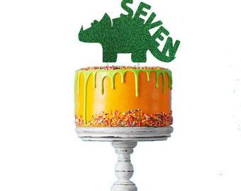 Dinosaur 7th Birthday Cake Topper - Number Seven Dinosaur Cake Topper - Glittery Green Cake Topper - Boys Cake Topper