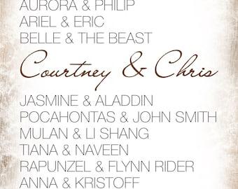 Your Disney Princess & Prince Couples Printable Name List   Digital File   Custom Personalized