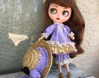 Blythe doll dress set hat bloomers Victorian