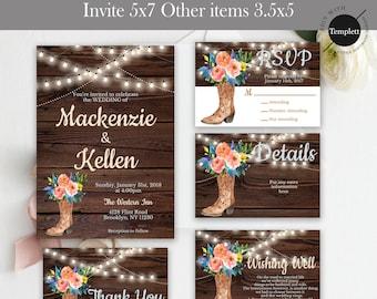 Rustic Wedding Invitation, Rustic Wedding, Country Wedding Invitation, Template, You Edit, Printable Wedding Invitation, Marriage Invitation