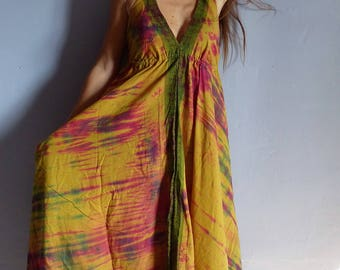 Ethnic long dress, cotton yellow tie dye, checkered, Halter, beach, festival