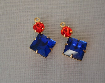 2pcs - Vintage Glass Square Cobalt Faceted  Stone and Round Hyacinth Rhinestone  Brass Prong Settings.