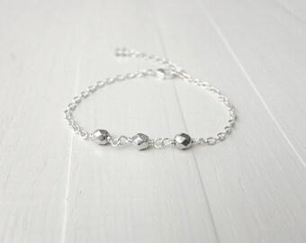 Sparkly bracelet silvery glass beads chain bracelet dainty minimalist bracelet for women