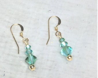 Lt. Turquoise Illumious Green Crystal Gold Filled Dangle Drop Earrings #671