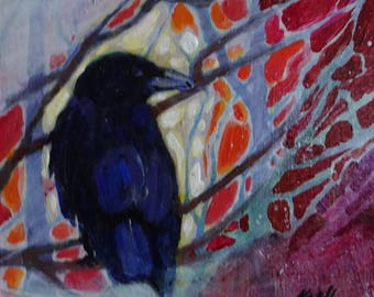 Original Art, Original Painting Acrylic Painting, Crow Painting  6 X 6 X 1.5 inches