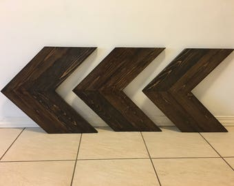 3 Chevron Wooden Arrows, Wall Decor, Wall Art, Rustic Wood Chevron Arrow, Unique Home Decor, Wooden Wall Art