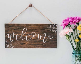 Welcome Wood Sign, Rustic Welcome Sign, Farmhouse Decor, Small Wooden Welcome Sign, Porch Sign, Handpainted Door Sign, Handlettered Sign