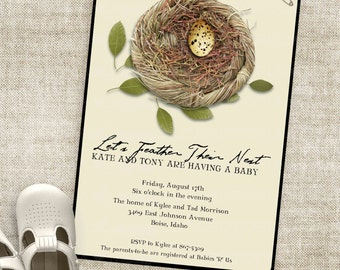 Nest and Egg Baby Shower Invitations Gender Neutral or Gender Reveal Party Invite Custom Invites with Professional Printing Option
