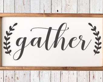 """Gather - Farmhouse Sign 25 1/2"""" x 13"""" - Dining Room Decor - Kitchen Sign - Rustic - Housewarming - Framed Sign"""