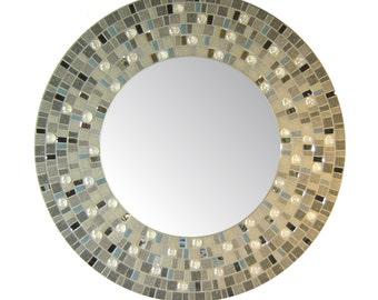 Opus Mosaic Mirrors   Round Mosaic Mirror   Wall Mirror   Glass Gem Collection   Gray, Silver, & Denim Blue, Light Gray