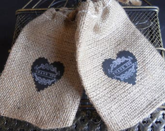 Burlap Favor Bags, Wedding Gift Bags, Wedding Favors, Shower Favors, Made in USA, Chalkboard, Bridal Shower, Baby Shower Gift Bag 25 4x6