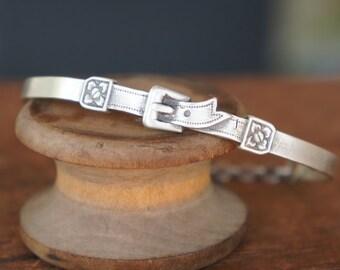 Sterling Silver Buckle Bangle Bracelet