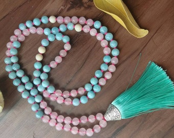 Aquamarine, rose quartz 8mm mala with turquoise tassle