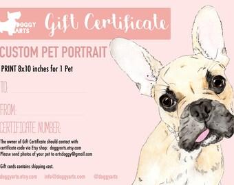 Gift Certificate. Last minute gift.Pet Portrait Print. Valentines Day Gift. Gift Idea. Custom Portrait. Custom pet portrait. Gift for dogs.