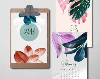 Botanical Calendar, Modern Minimal, 2018 Printable Calendar, A5 Monthly, Digital Download, US Letter, 2018 Wall Calendar, A4 Desk Calendar