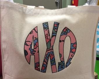 Alpha Chi Omega Digital Print Canvas Tote Bag