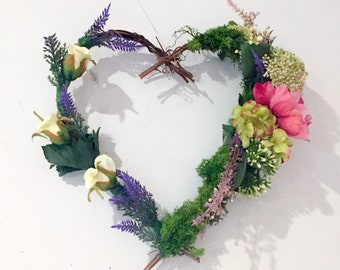 Heart shaped flower wreath, lavender, rose and peonie mix.