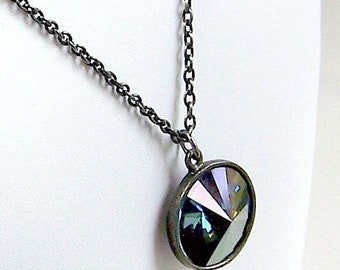 On Sale Antique Silver Pendant Necklace With Montana Blue Swarovski Crystal