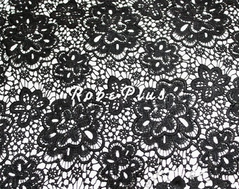 Black Lace fabric-Floral Chemical Lace - Premium Heavy Lace - Black Floral Lace Fabric-Black Embroidered Lace Fabric-L40