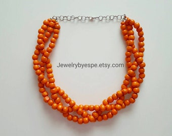 Orange Necklace, Statement Necklace, Beach Wedding Jewelry, Multi Strand Necklace, Chunky Bib Necklace, boho, summer party