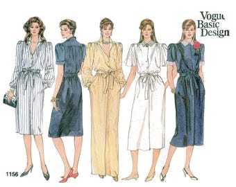 1980s Vogue Basic Design 1156 Shirt Dress Sewing Pattern Short Long Flutter Sleeves Length Variations Size 14 16 18 Bust 36 38 40 UNCUT