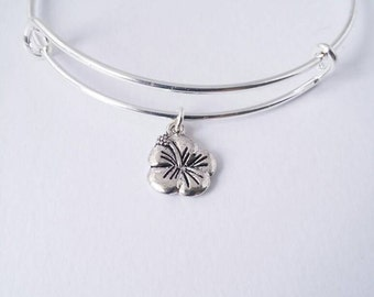 Hibiscus flower single charm bangle bracelet
