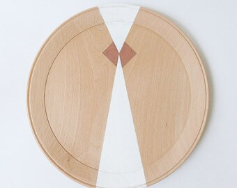 geometric patterns painted wooden tray