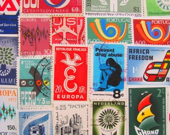 Super Mod 50 Vintage Postage Stamps Psychedelic Pop Art Mad Men Midcentury Modern Contemporary Retro Design 60s 70s US Worldwide Philately