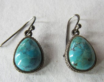 Vtg Signed Barse Thailand Turquoise and Sterling Silver Tear Drop Earrings 92