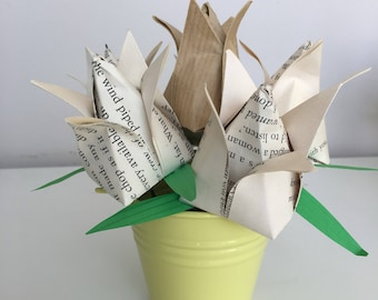 Vintage paper tulips in metal bucket, paper flowers, gifts, Mother's Day.