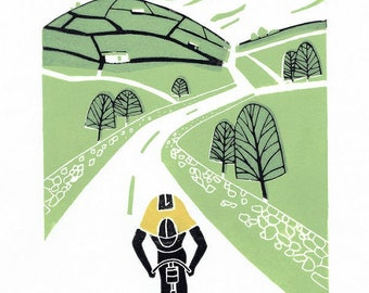 Tour de France - Yellow Jersey  - Original Linocut Print , Cyclist Gift - Yorkshire Cycling - Bike, Contemporary Bicycle Art