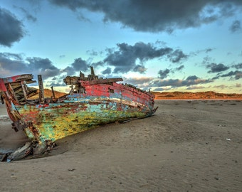 Shipwrecked - Sunken Boat - Old barge - wreck, landscape photography, shipwreck photograph