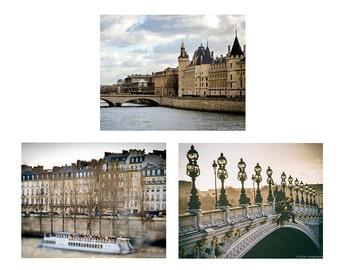 Beige Paris Print Set - set of 3 prints 8x10 alexandre bridge conciergerie river seine castle paris themed bedroom 11x14 fairytale