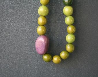 Green and Purple Nut Long Necklace