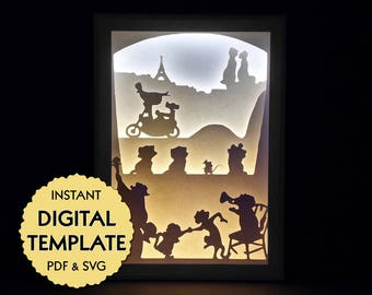 Template Aristocats Paper Cut File, Silhouette Light Box Tutorial - PDF, SVG Digital Download